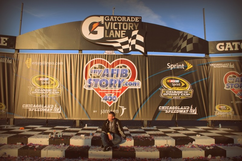 empty Victory Lane apart from a Blogger